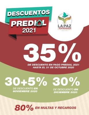 Ya comenzaron en La Paz, los descuentos de Predial 2020 y 2021