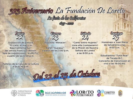 Invita Ayuntamiento a los festejos virtuales de los 323 años de la fundación de Loreto